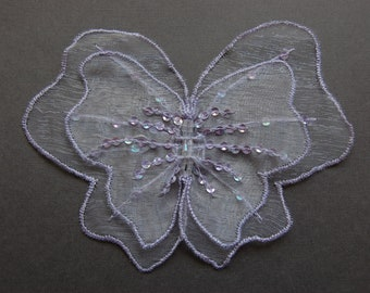 Large Lilac Organza Butterfly Embroidered Applique
