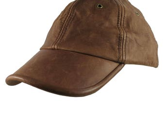 Genuine Nutmeg Brown Leather Low Profile Adjustable Fashion Baseball Cap Dad Hat  Made in Canada