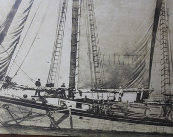 """Antique 21"""" x 11"""" Photograph of Three Masted Wooden Sailing Ship"""