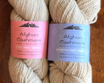 Handspun Undyed Fair Trade Cashmere Yarn Sport & Heavy Worsted Weight; 100 grams