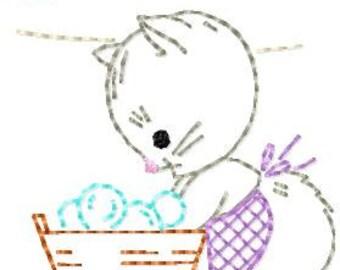 Vintage Little Kitten 2 washing/drying Mittens, Machine Embroidery Design 4x4 hoop, vintage colorwork linework, INSTANT DOWNLOAD