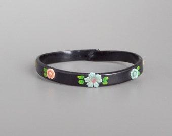 Art Deco Celluloid Bracelet. Applied Flowers. Black.