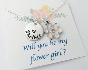 Flower Girl Necklace, Flower Girl Gift, Will you be my flower girl, Flower Girl Jewelry, Personalized Flower Girl Necklace, flower girl