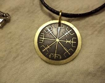 Small Etched brass Viking compass pendant