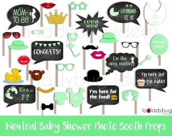 Neutral baby shower photo booth props, Green. Printable. DIY baby shower bubble speech. Instant download. PDF Digital file. High resolution.