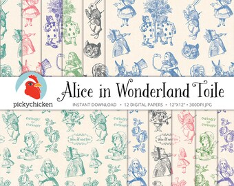 Alice in Wonderland Digital Paper, Alice toile paper, Cheshire Cat, Mad Hatter, baby shower, birthday, photography backdrop 8083