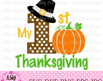 My 1st/First Thanksgiving For Boys Cut File svg,png,dxf and eps file for the Cutting Machines NO:0008