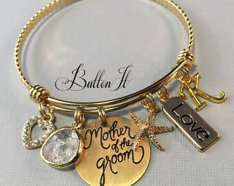 Wedding gifts, Mother of the GROOM gift, Mother of the Bride Gift, Maid of Honor gift, GOLD bangle, CHARM bracelet, destination, Blush pink