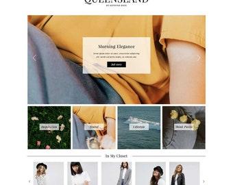 "Responsive Wordpress Theme ""Queensland"" / Fashion Photography Instant Digital Download Premade Blog Template Design"
