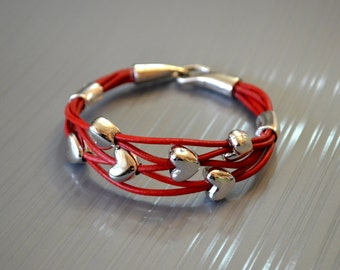 Red Leather Abacus Bracelet, golden colour bead leather bracelet, silver coloured heart bead bracelet, Leather bracelet