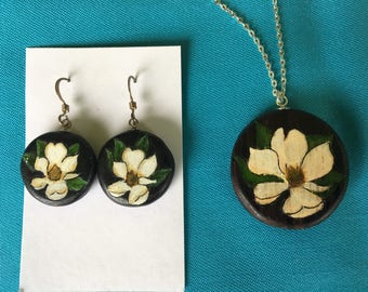 Louisiana Magnolia Necklace and/or Earrings on Rosewood with Sterling Silver