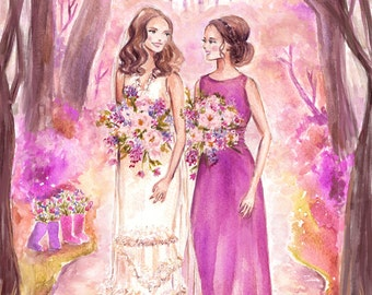 Custom Bridal Portrait - Bridesmaid Illustration, Wedding Dress, Gown, Couple Portrait, Bridal Shower, Wedding Invite Sketch by Reani