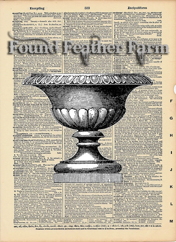 """Vintage Antique Dictionary Page with Antique Print """"Architectural Urn"""""""