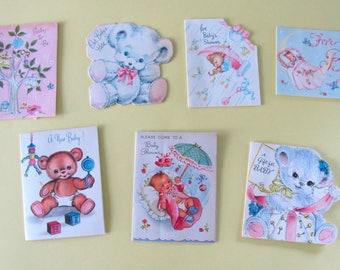 7 Vintage New Baby Gift Cards