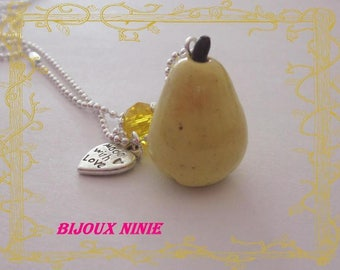 PEAR necklace gourmet artisan polymer clay