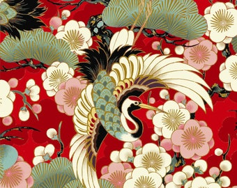 Celebration - Tsuru Crane Bird Red with Metallic Accents from Quilt Gate