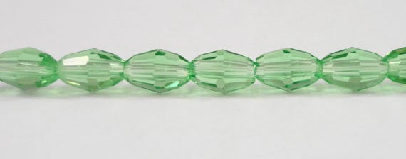 Green Oval Crystal Beads, 6x4mm (4x6mm) Peridot Green Crystal Beads, Small Faceted Glass Oval Beads, Chinese Crystal Beads for Jewelry, 50pc