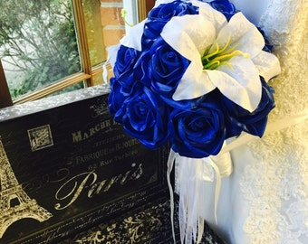 Royal Blue Rose White Lily Wedding Bouquet Blue Bridal