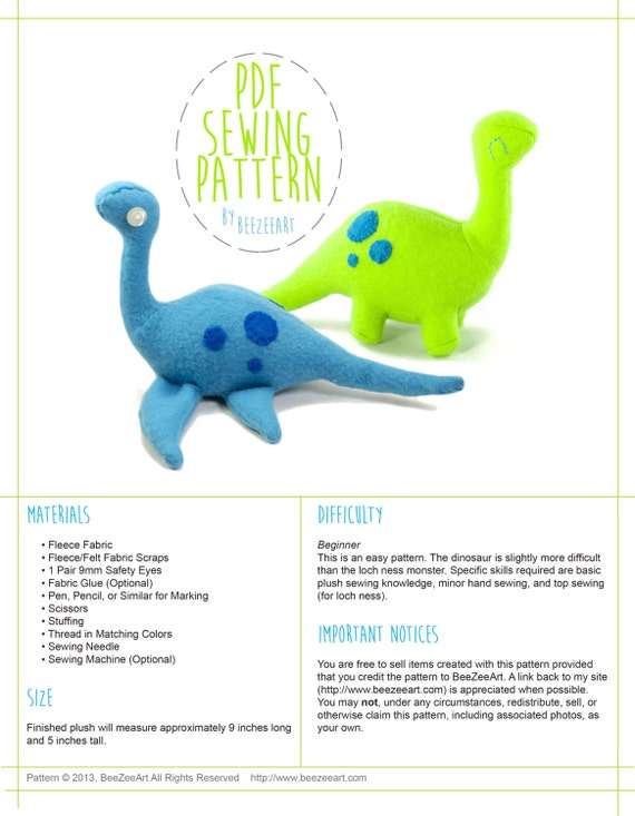 Dinosaur and Loch Ness Monster Stuffed Animal Plush Toy Sewing