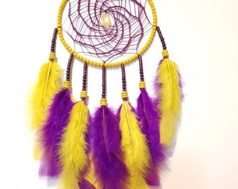 Dream-catcher Purple and Yellow, Dreamcatcher Feathers, Wooden Beads and Crystal