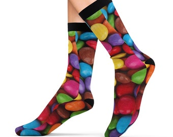 Candy Coated Chocolate Bits Treats Printed Sublimation Socks Footwear