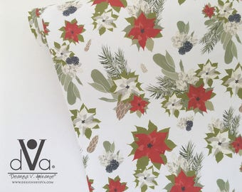Christmas Wrapping Paper; Poinsettia Gift Wrap