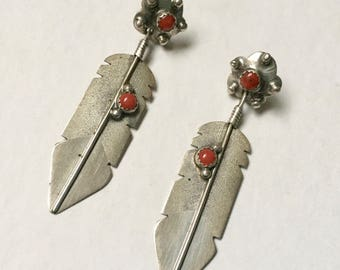 vintage sterling and coral feather earrings
