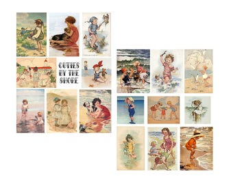 Cuties by the shore Digital Collage set