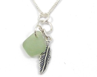 Sea Glass  Necklace, Feather Charm, Sea Glass Necklace, Charm Necklace, c196, Sterling Silver Feather Charm, Angel Wing Necklace