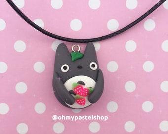 Totoro necklace - strawberries   My neighbor Totoro, Studio Ghibli, Cute charm, kawaii, Polymer Clay jewelry
