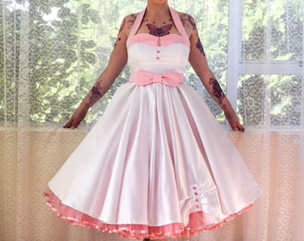 1950's Rockabilly 'Ruby' Wedding Dress with Lapels, Sash, Full Circle Tea Length Skirt and Petticoat - Custom Made to Fit