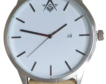 Luxury Masonic Watch with beige strap