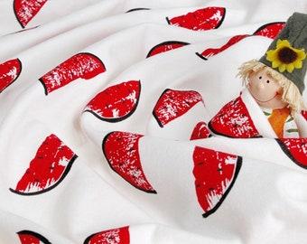 Franse Baby Terry Knit stof watermeloenen door de werf