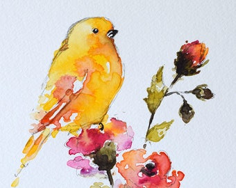 ORIGINAL Watercolor Painting, Pink Roses Watercolor Flowers, Goldfinch Painting 6x8 Inch