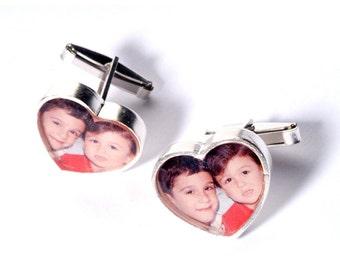 My Heart Custom Made Silver Picture Cufflinks