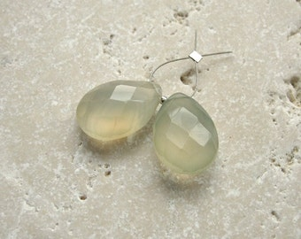 Lemonade Chalcedony Faceted Teardrop Beads 14 x 19.5mm - Matched Gemstone Pair