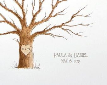 Wedding Tree Guest Book Names and Date ADD-ON Hand lettered / for Original Watercolor Painting