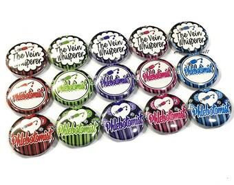 """Phlebotomist, 1"""" Button, Phlebotomist Button, Phlebotomy Party Favor, Phlebotomy Pin, Phlebotomy Flatback, Phlebotomist Gift, Phlebotomy"""