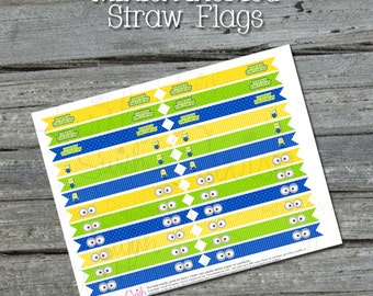 Minion Party Printable Straw Flags - INSTANT DOWNLOAD