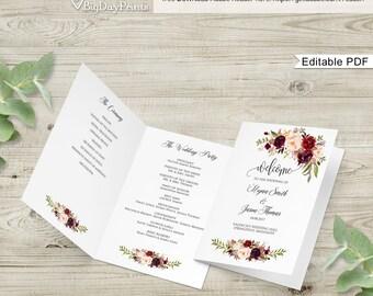 Wedding Program Template, Ceremony Program Printable, Folded Wedding Program Printable, Marsala, #A047, Instant Download, Editable PDF