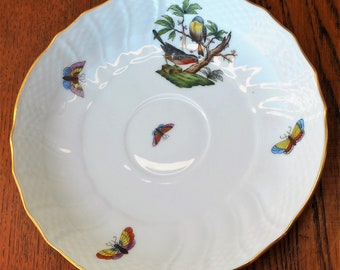 Herend Rothschild Hungary Porcelaine Hand Decorated Saucer Bird Insect Motif