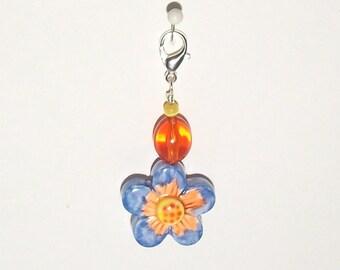 Blue and Orange Flower Zipper Pull - Purse Charm - Handmade Polymer Clay Bead