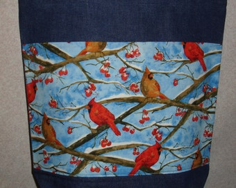 New Large Handmade Winter Cardinals Birds Lt Blue Background Denim Tote Bag