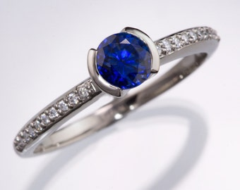 Blue Chatham Sapphire Engagement Ring, narrow Diamond Micro-Pave Band in Palladium, Platinum, Rose Gold, Yellow or White Gold, ethical ring