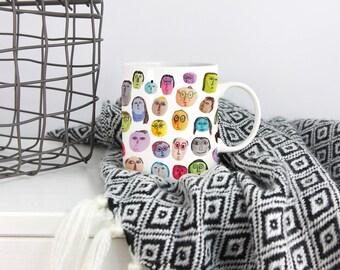 People Pattern Mug, Colorful Mug, Water Color Illustration, Coffee Mug, Tea Mug, Gift For Her, Gift For Him