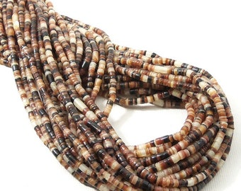 Brown Lip Shell Heishi, 2mm - 3mm, Brown, Black, White, Thin Beads, Small, Multi Colored, Extra Long 24 Inch Strand - ID 2088