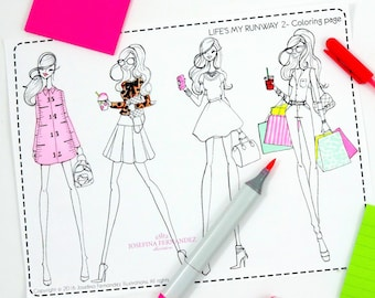 "Printable coloring page ""Life's my runway 2"",adult coloring page, printable colouring page,coloring pages for adults,adult coloring download"