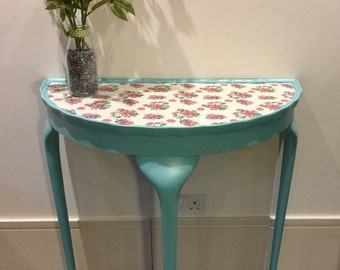 Pretty half circle side table with floral decoupage top and scallopped edge