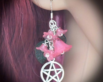 Summer Flowers Pentacle Earrings - Pink - Pagan Jewellery, Wicca, Solstice