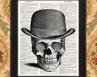Skull Maverick with Derby Hat and Steampunk Glasses, weird wall art, unique gift for men, mancave decor, Victorian art, Illustration print